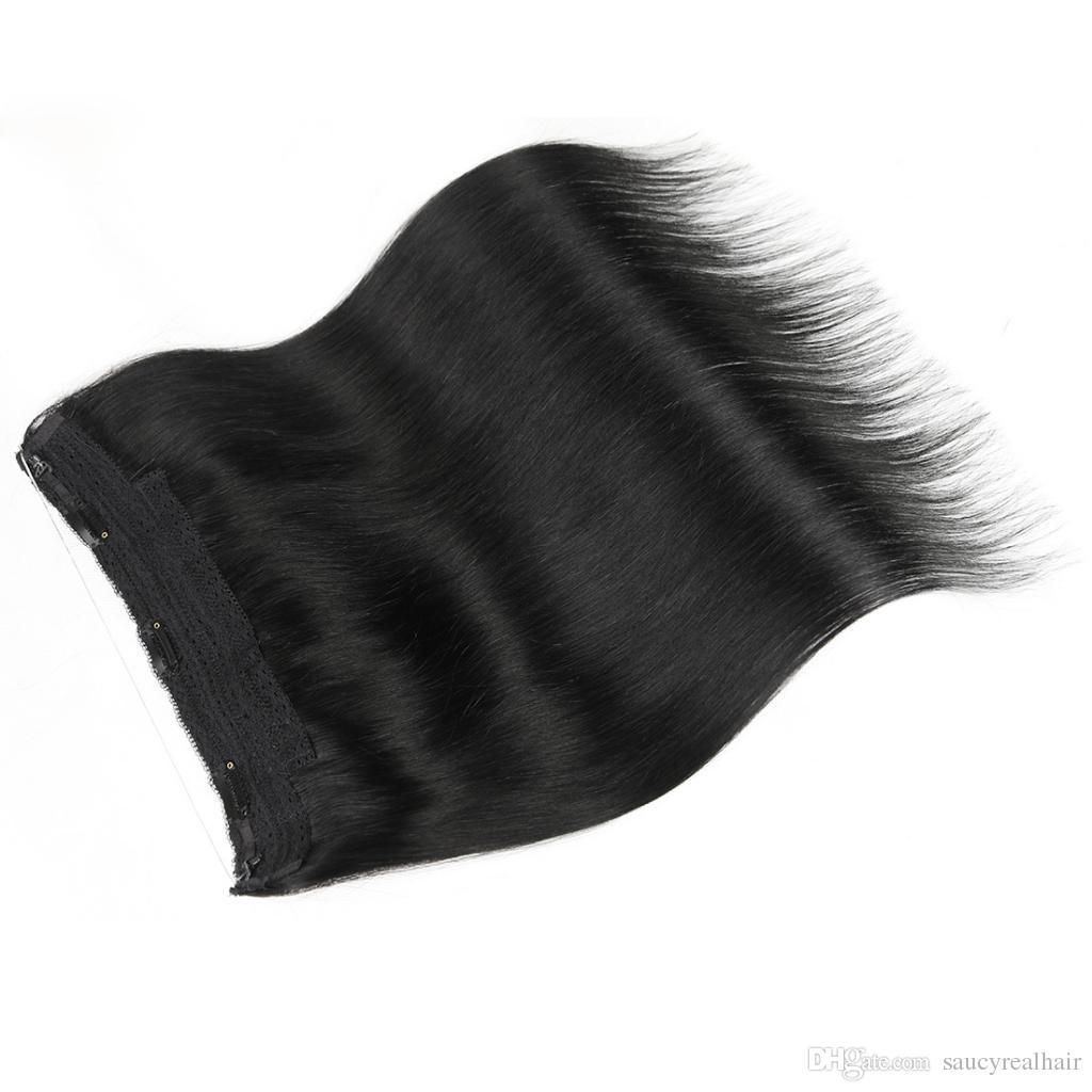 Elibess Grade 10A Length 14INCH-26INCH Halo Hair Extension 100Gram one piece Real Brazilian Virginn Hair Flip In Hair Extensions