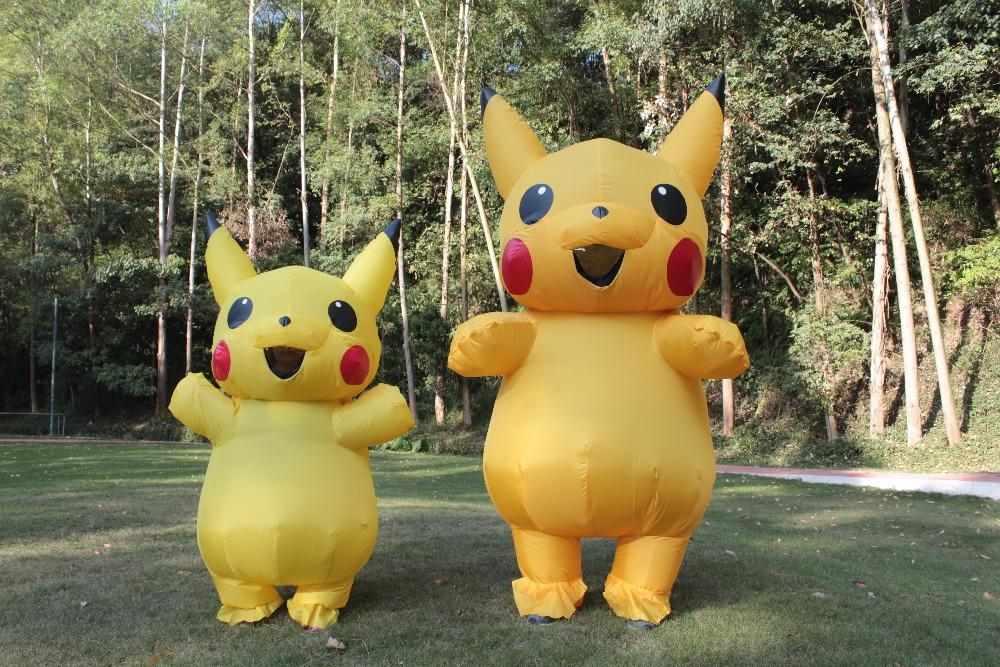 Unisex Mascot Pikachu Inflatable Costume Cosplay Halloween Funny Dress Kid Adult