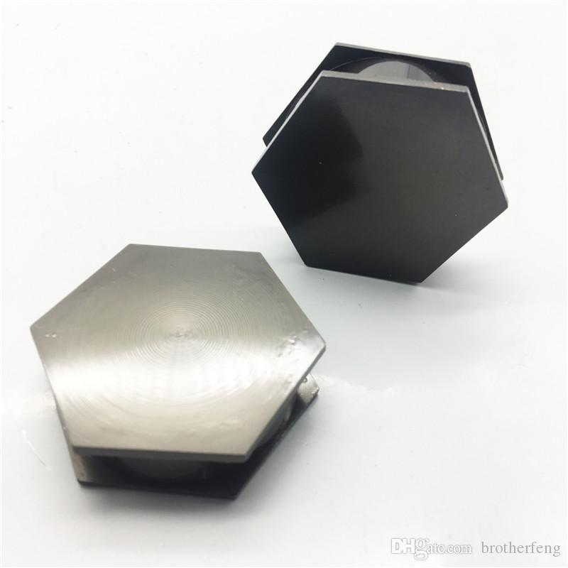 Mini Hexagonal 2-layer 45mm Zinc Alloy Flat Plate Grinder Detector New Flat Tooth Gun Black Silver Grinder for Tobacco Smoking