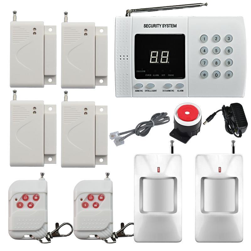Kablosuz pir ev güvenlik hırsız alarm sistemi otomatik arama dialer 2x kızılötesi motion dedektör 4x kapı / windows alarm sensörü