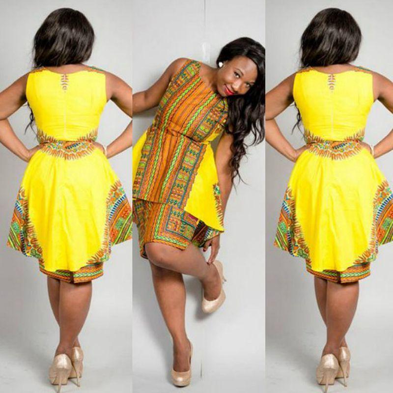 2017 yeni stil kadın yaz dress vintage geleneksel afrika tribal baskı dashiki dress seksi sarı parti elbiseler tunique femme 17301
