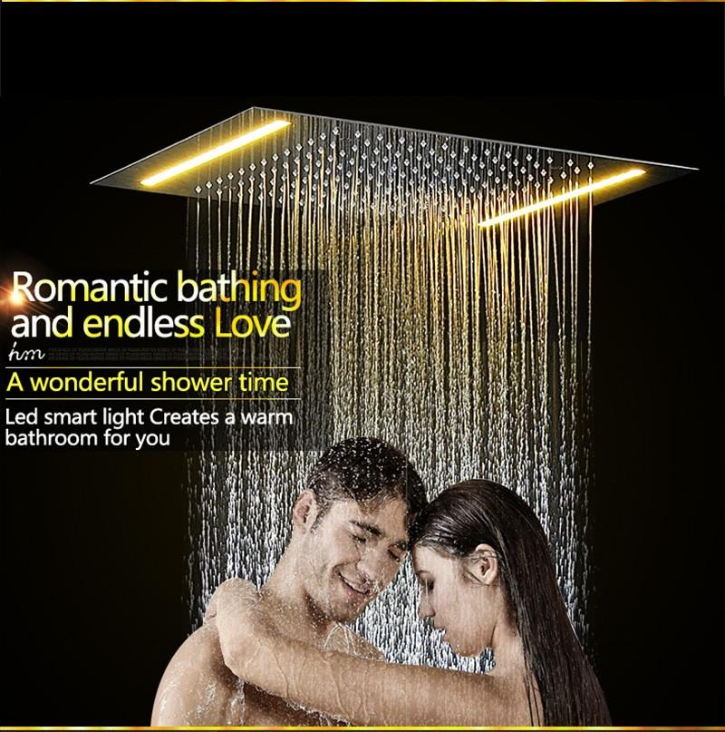 hm LED Rain Shower Set with 2 Lights with Handshower Body Jet Massage Thermostatic Mixer Bathroom Ceiling (4)