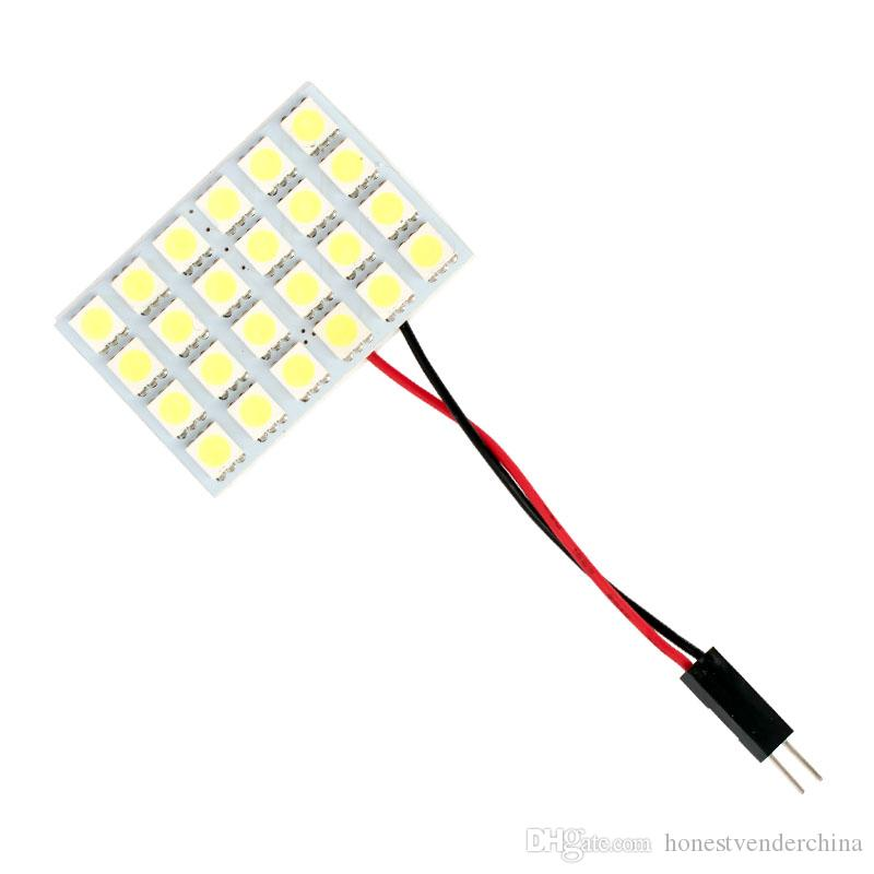 10X High Quality Super Bright T10 W5W C5W Festoon 2 Adapter 24 SMD 5050 LED Auto Panel Light Reading Bulb Car Interior Map Lamp 12V
