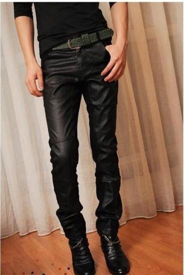 Toptan-Bahar 2015 yeni erkekler İnce Kore patlama modelleri siyah motosiklet deri joggers pantolon Adam Ayaklar Lederhosen