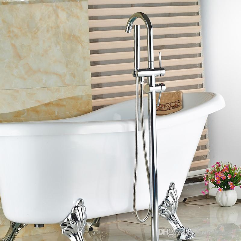 Polished Chrome Brass Bathroom Tub Faucet Floor Mounted Tub Filler W/ Hand Shower Swivel Spout Shower