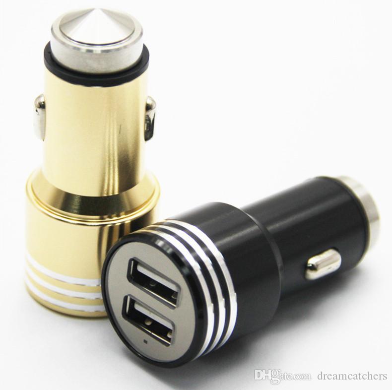 Universale Mini USB Dual USB Metallo sicurezza martello caricabatteria da auto alimentatore da viaggio per iphone 7 bordo Samsung S7 LG Smartphone
