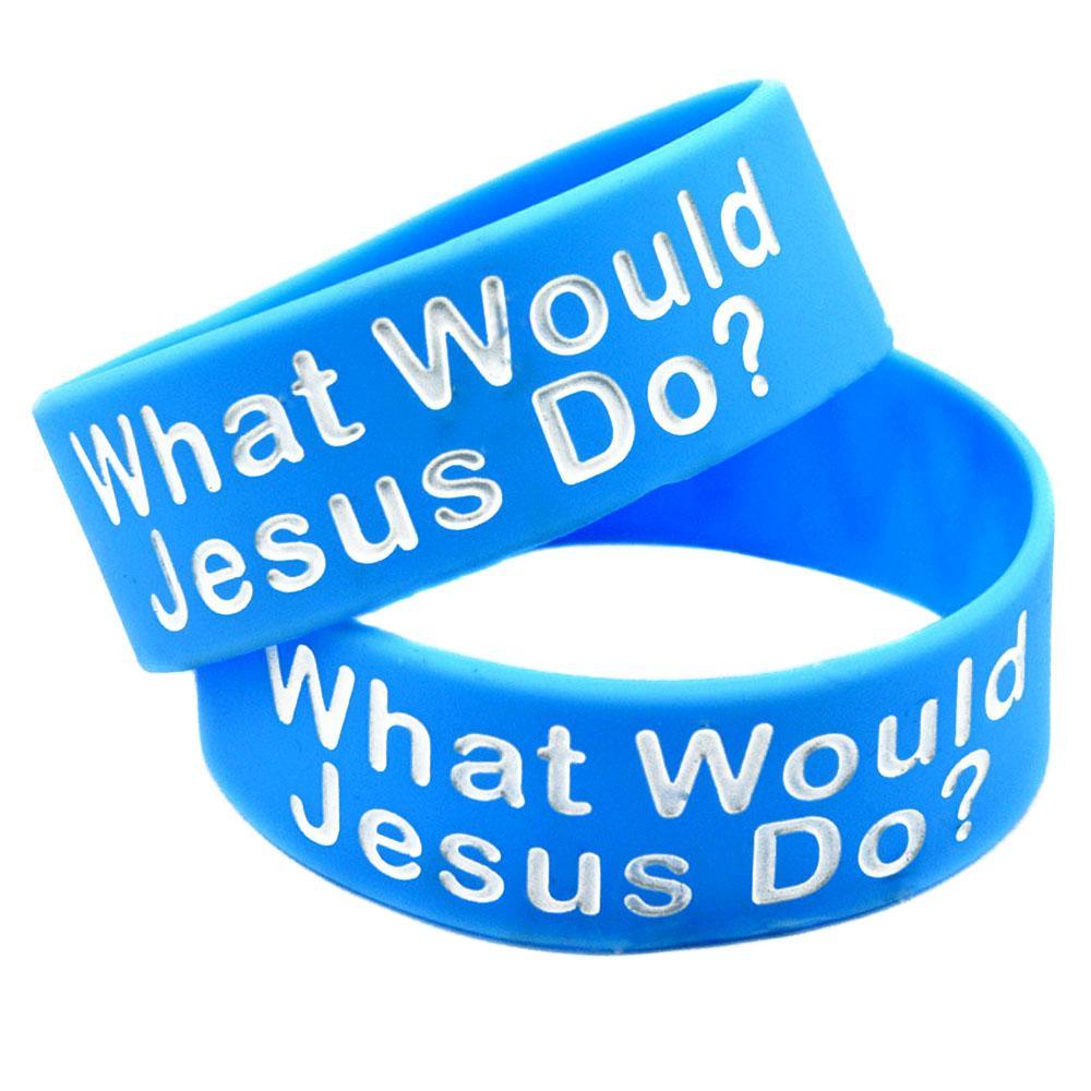 50pcs 예수께서는 1 인치 넓은 실리콘 팔찌 종교적 믿음 보석 성인 크기 파란색으로 무엇을 할 것입니까?