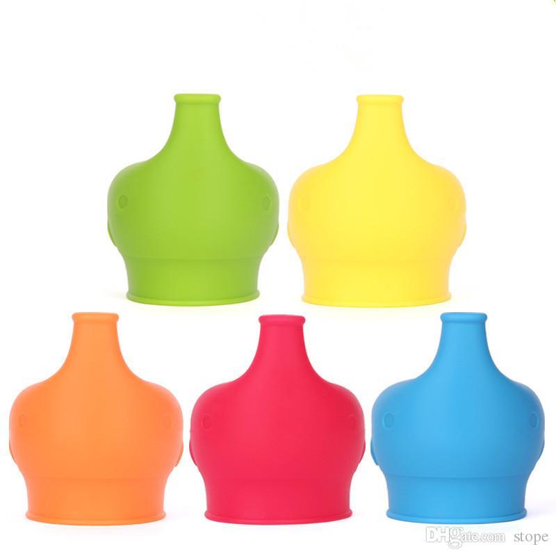 Forma de elefante Antidesbordamiento de silicona sippy cup tapa bebé sippy cups sin fugas para bebé chupete tazón tapa DHL Free