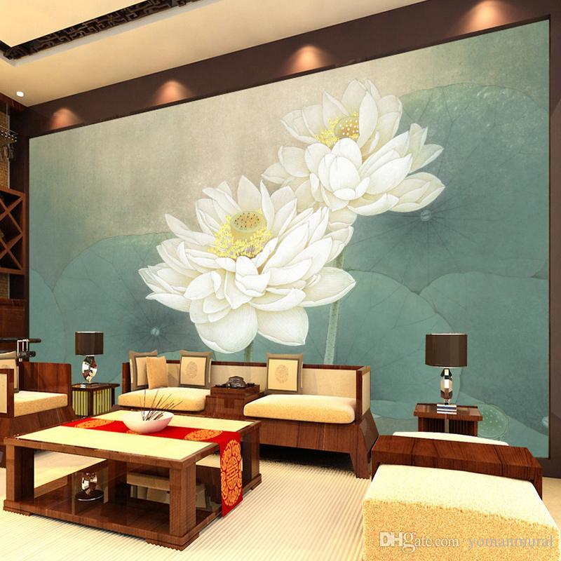 3D 벽지 벽 현대 거실 자연 경관 벽 벽화 연꽃 섬유는 가정 장식을 배경 화면