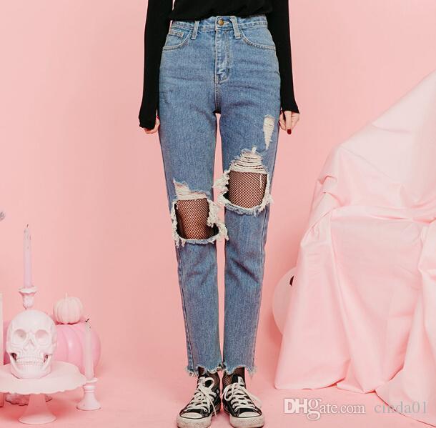 Erkek arkadaşı Delik Jeans Kadınlar Pantolon Kadın Kız Yüksek Bel Casual Pantolonlar için Denim Vintage Düz Jeans Soğuk Ripped