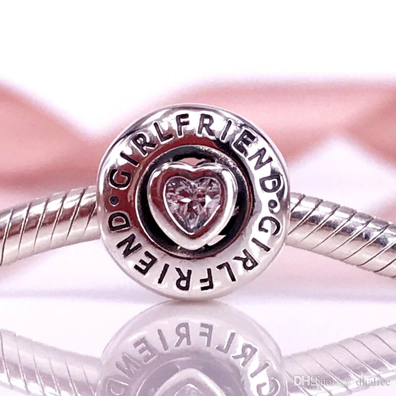 Authentic 925 Sterling Silver Beads Girlfriend Charm Charms Fits European Pandora Style Jewelry Bracelets & Necklace 792145CZ