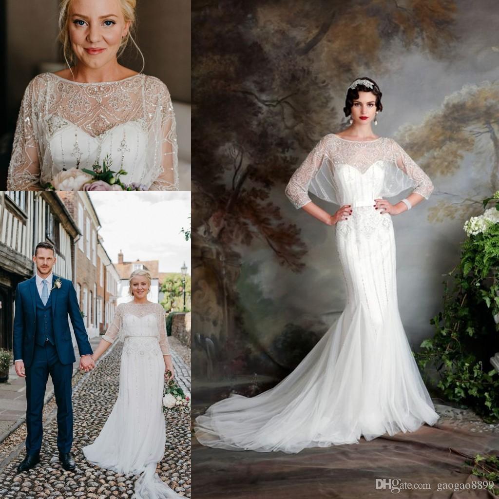 Great Gatsby Vintage Luxury Country Wedding Dresses 2019 Modest Jenny Packham Short Sleeve Beaded Mermaid Bridal Gowns Eliza Jane Howell