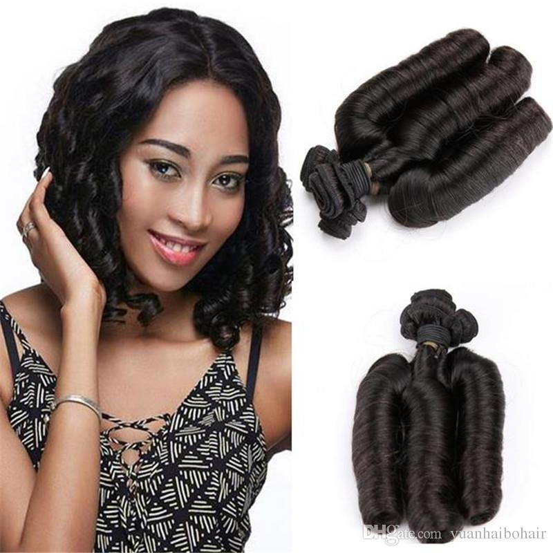 3PCS high quality 1b egg curls virgin indian hair 100 bouncy funmi human hair extensions free shipping