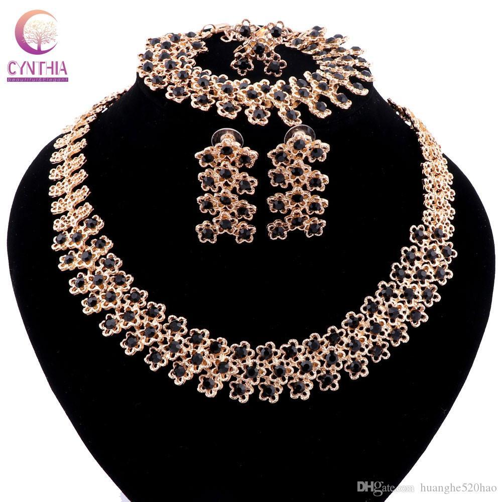 Party Zubehör Schmuck Sets für Frauen Afrikanische Perlen Kristall Halskette Ohrringe Armband Feine Ringe Schmuck Sets