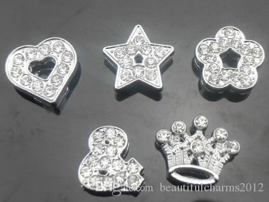 50 pz / lotto 10mm pieno di strass stili mix Charms per diapositive fai da te accessori Misura per 10mm braccialetto wristband fashion jewelrys