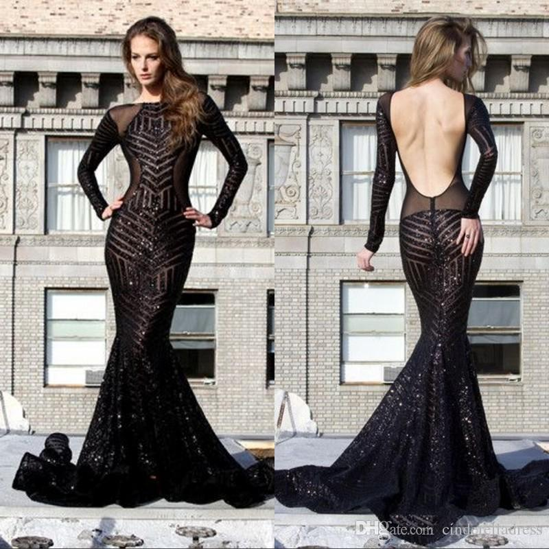 Sexy Sheer Sequins Long Sleeves Mermaid Backless Prom Dresses High Neck Black See Through Plus Size Formal Evening Gowns