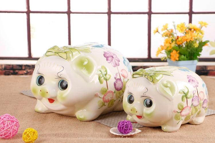 Spedizione grande porcellino salvadanaio in ceramica ornamenti salvadanaio maiale salvadanaio regalo di compleanno creativo