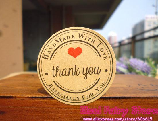 1200 adet teşekkür ederim kırmızı kalp el yapımı ile aşk Kraft Mühür Etiket Hediye Etiket Etiket Parti Lehine Hediye Çanta Şeker Kutusu Dekor