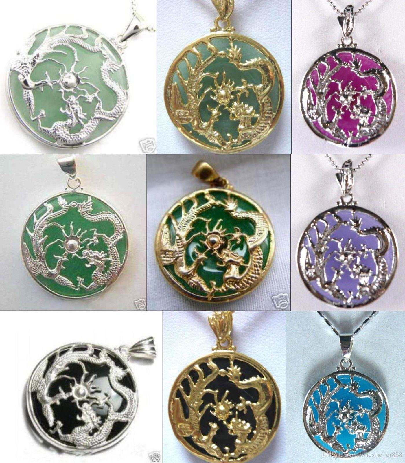 Colore a buon mercato all'ingrosso 9! giada verde / viola / blu - agata nera Dragon Phoenix benedice il ciondolo 18KGP