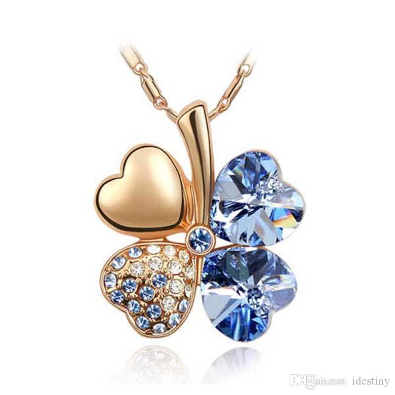 Top Quality Rose Gold Plated Heart Necklace Blue Lucky Four Leaf Clover Pendants Korea Trendy Jewelry Women Crystal from Swarovski