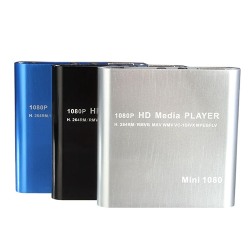 Wholesale- Hot Sale Mini 1080P HDD Media Player MultiMedia Muti-function Video Player MKV/H.264/RMVB Full HD With HOST USB Card Reader Best