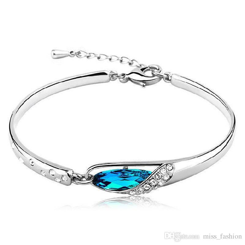 925 itens de prata esterlina azul charme pulseiras de cristal pulseira encantos casamento étnico do vintage Vela moda quente