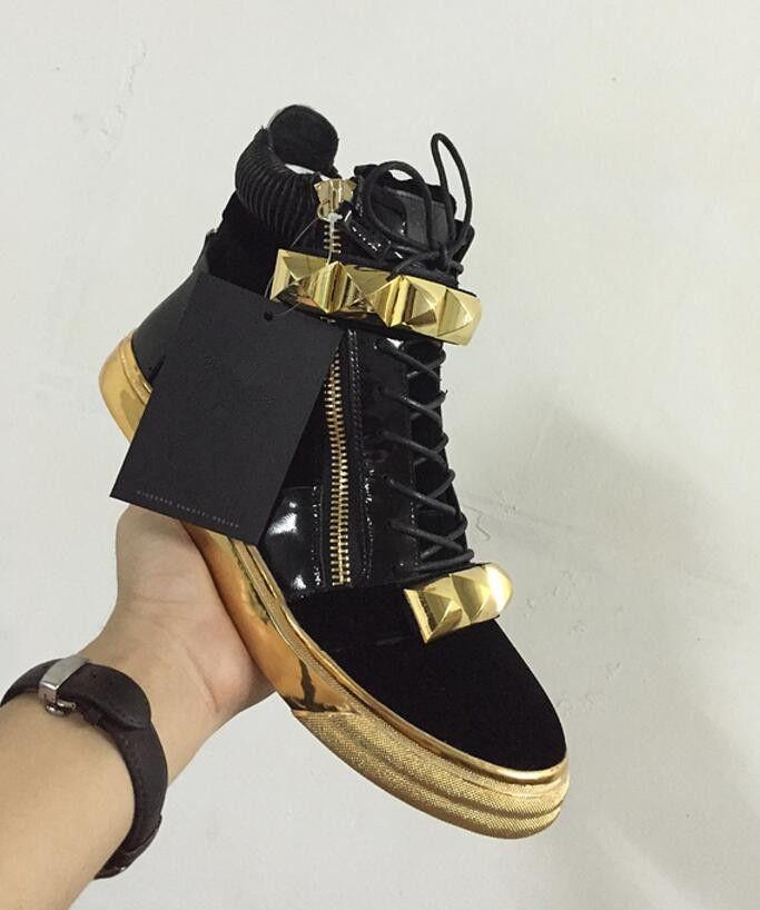 2017 hohe qualität mode männer big spike stud schuhe patchwork leder sneaker gold zip freizeitschuhe gold alleiniges partei schuhe männer marke schuh