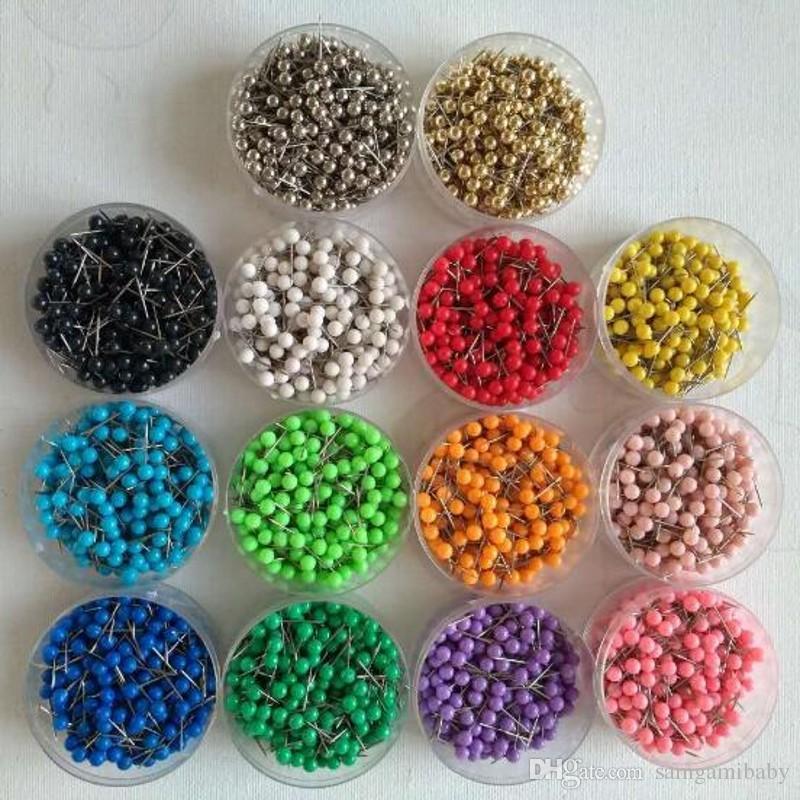 """Punaises de carte, punaises de carte, 1/8 """", tête en plastique avec pointe en acier, 100 pièces / jeu, 14 couleurs"""