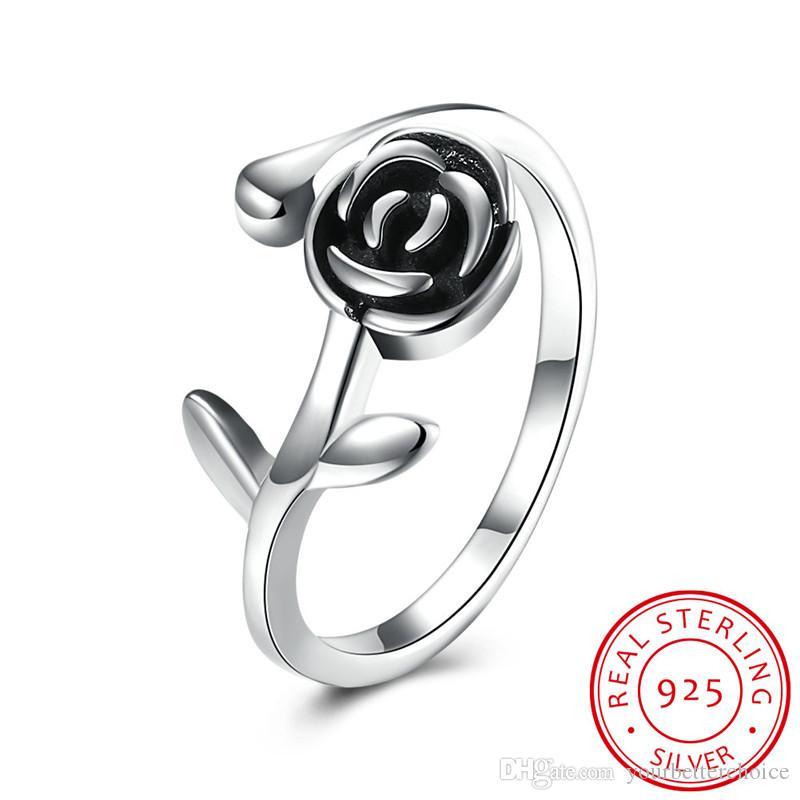 Estilo retro negro 925 anillo de plata de ley detallada flor rosa anillo abierto para mujeres envío gratis