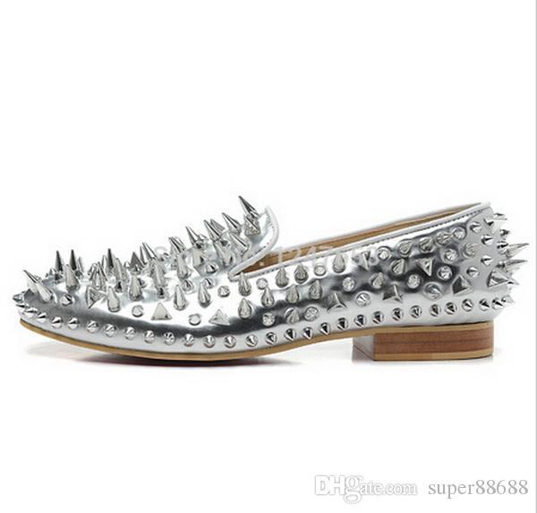 New Luxury Herren Sliver Lackleder Sliver Mix Spikes Red Sohle Loafers Wohnungen Schuhe, Designer Männer Frauen Red Bottom Business Kleid Schuhe