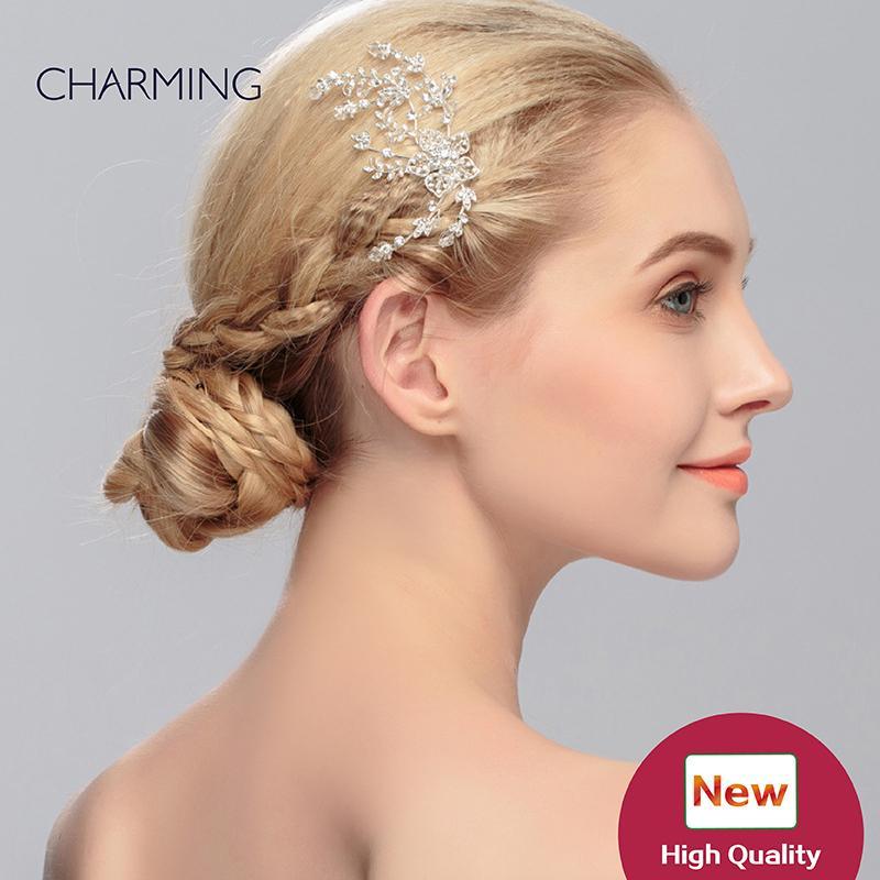 Tiara Kamm einzigartige Haar-Accessoires BrautTiara Kristalle Perlen Haarbänder und Clips Hochzeit Blume Haar Reben
