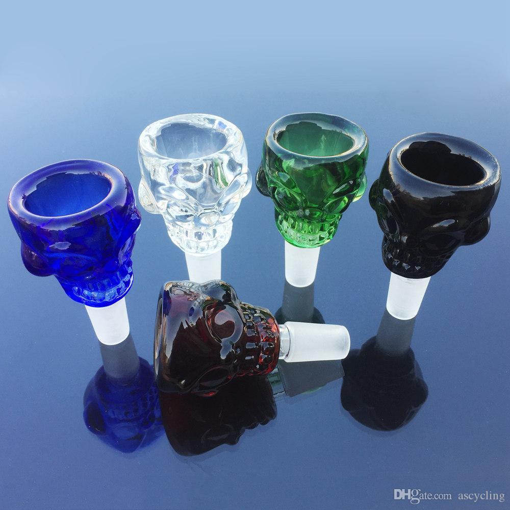 14.5mm Male Joint Schädel Glasschale mit 5 Farben Blau Bown Grün schwarz Klar Bongs Raucherzubehör Bowl Schädel SK01
