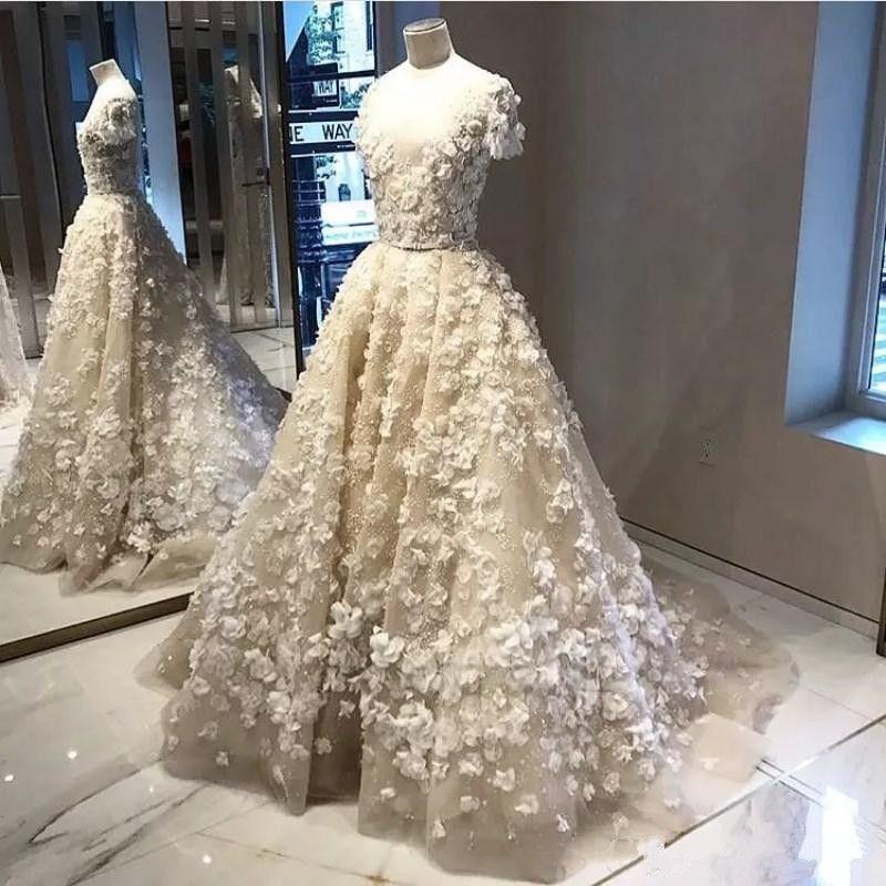 2018 New Elie Saab Ivory 3D Appliqued Beaded Wedding Dresses Short Sleeve A Line Bridal Gowns Vestido De Novia Custom Made Wedding Dress