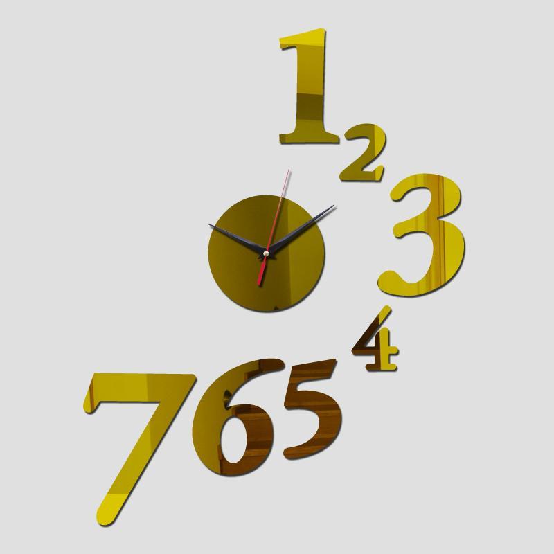 Toptan-2016 Yeni Akrilik Ayna Saat Duvar Çıkartmaları Ev Dekor İzle Saatler Modern Horloge Reloj Pared Oturma Odası Kuvars Ücretsiz Kargo