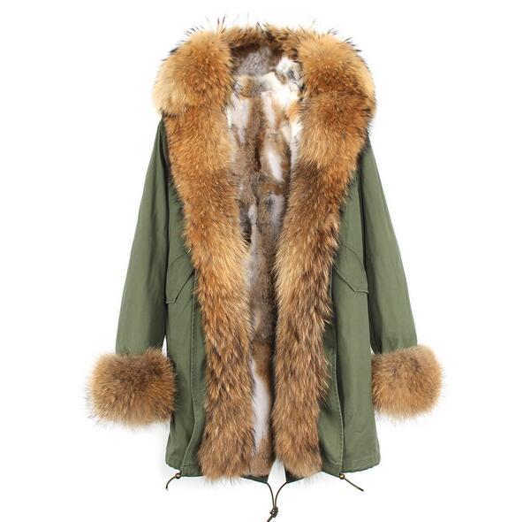 Lüks Lavish kahverengi Placket kürk trim JAZZEVAR Marka Haki tilki ve tavşan Kürk astar ordu yeşil tuval uzun parka ceketler