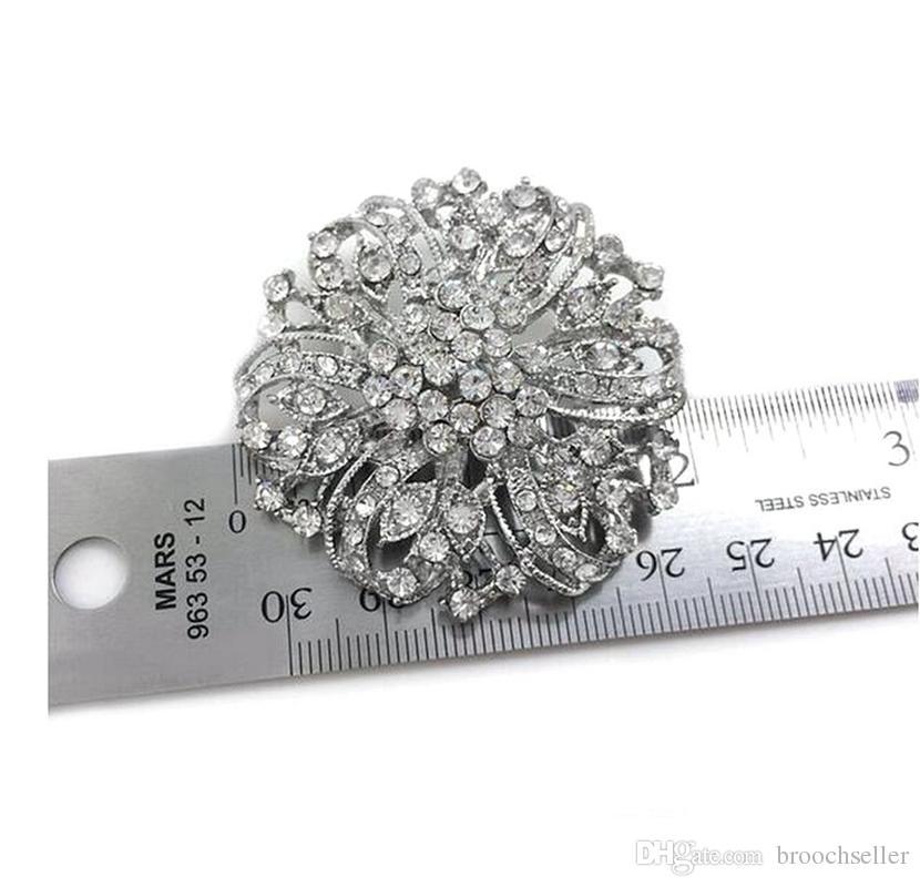 Vintage Rhodium Verzilverd Clear Rhinestone Crystal Diamante Wedding Flower Bouquet Broche
