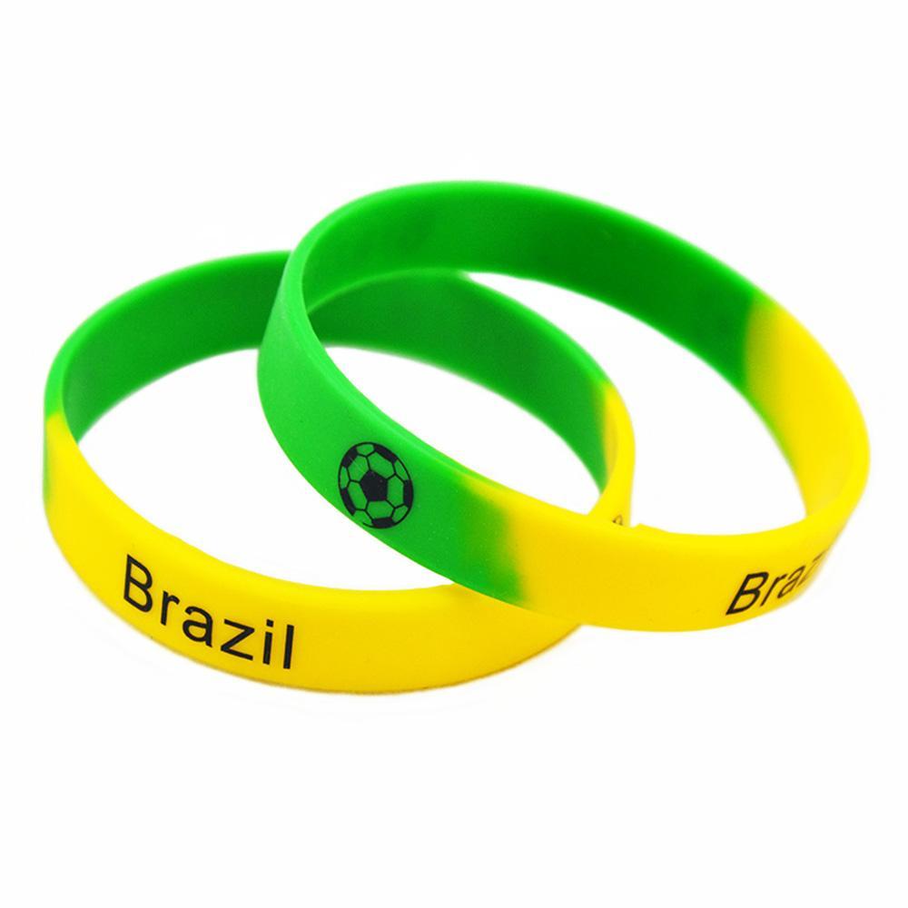 1pc 축구 팀 패션 실리콘 고무 손목 밴드 세그먼트 컬러 인쇄 로고 브라질 포르투갈 스페인 및 프랑스