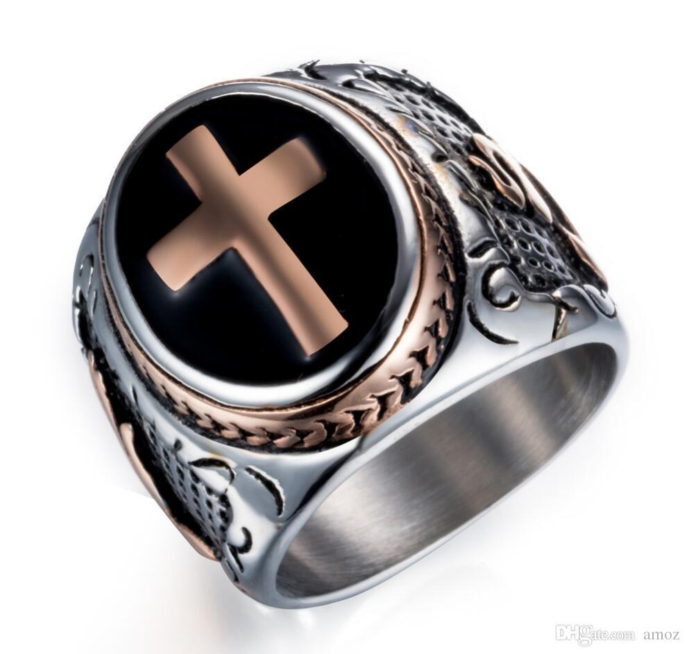 Anneau de croix médiéval celtique pour homme en acier inoxydable, bagues pour homme punk, bagues de roche argent noir taille 7-13