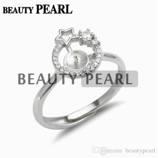 Star Ring Settings 925 Sterling Silver Blanks Cubic Zirconia Ring Semi Mounting for Pearl 5 Pieces