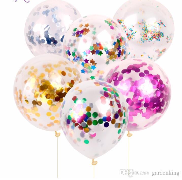 100 Pcs Misturado 12 polegadas Ouro Confetti Balão Gigante Claro Aniversário Balões Decoração Do Chuveiro Do Bebê de Aniversário Fontes Do Partido Balão