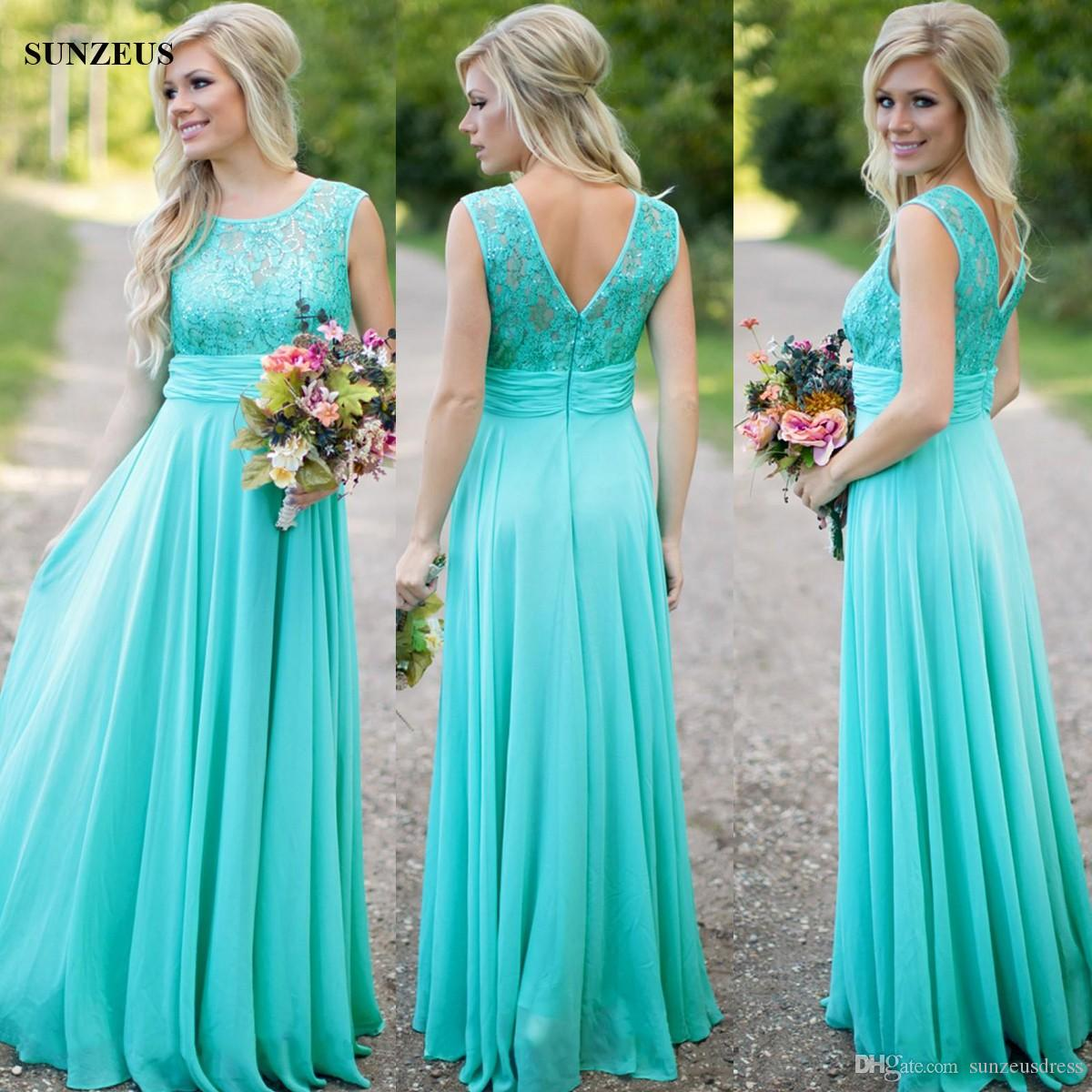 Turquoise Chiffon Bridesmaid Dresses Sequins Lace Top Long Wedding Party Gowns Formal Wear Vestido Color Turquesa Monique Lhuillier Bridesmaid Dresses