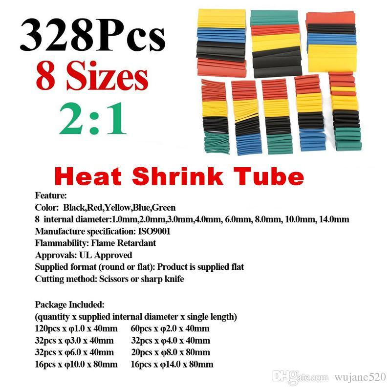 328Pcs 8 Sizes Assortment 2:1 Ratio Heat Shrink Tube Tubing Sleeve Wrap Wire Cable Kit Set Electric Insulation