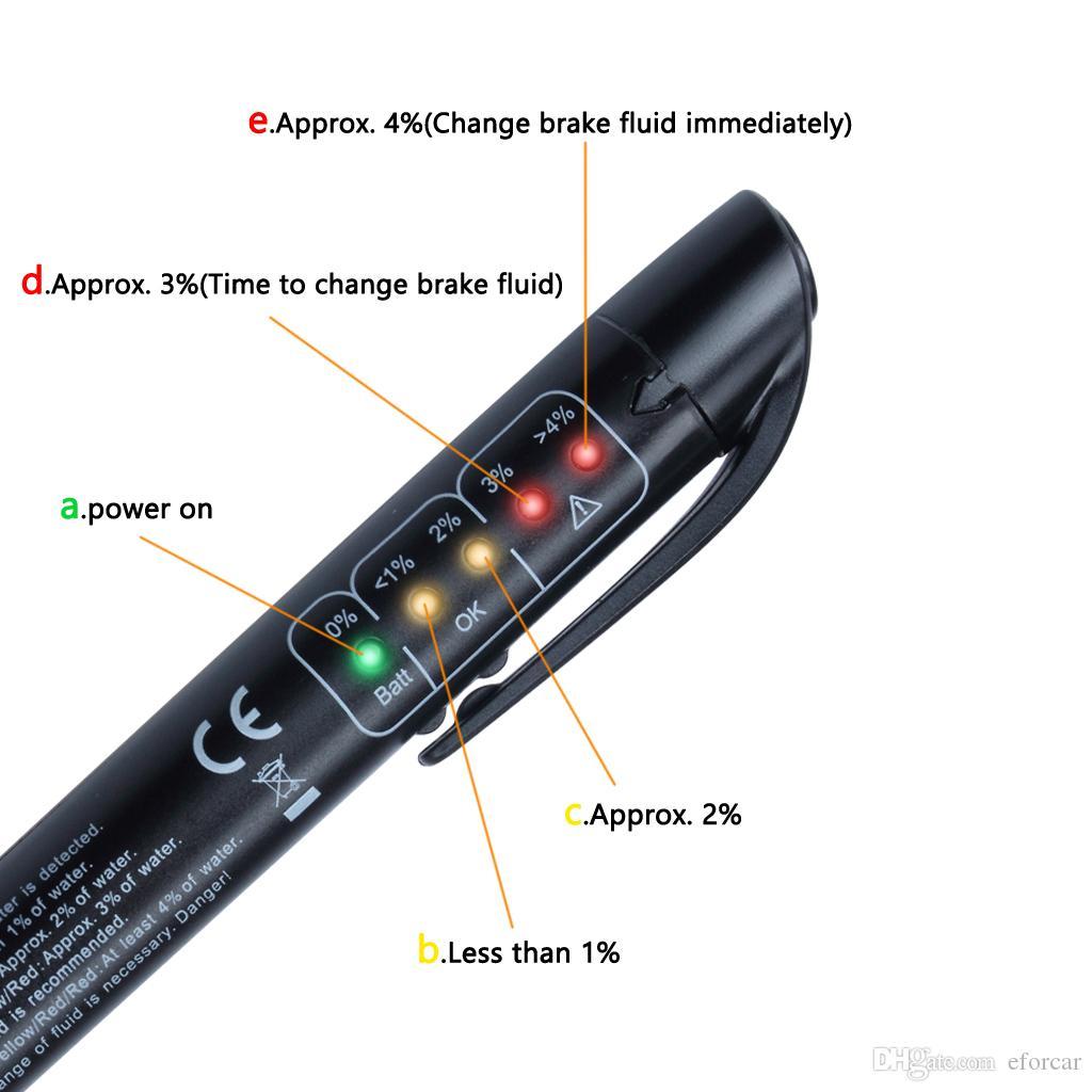 1X LED Brake Fluid Tester Strumento di Test Diagnostico Freni Auto Calibrato Per DOT3 DOT4 DOT5 Automotive Shop Tools
