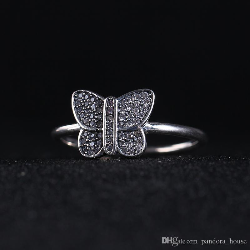 الجملة 100٪ في الحجية 925 الفضة صالح باندورا خاتم مع كريستال رسالة خواتم متوافق مع باندورا DIY مجوهرات