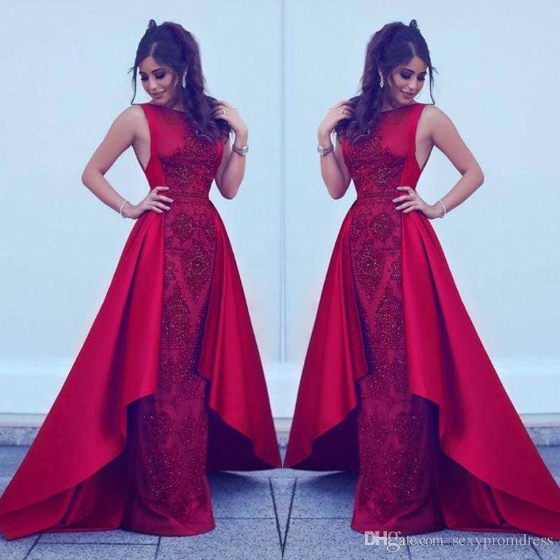 Vestidos de noche de color rojo árabe Apliques de encaje Sin mangas Alto y bajo Vestidos de baile Tren de barrido Vestido de fiesta formal Barato por encargo