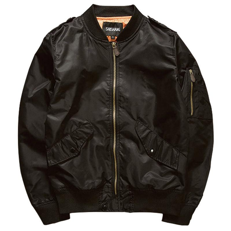 Atacado - 2016 Nova Primavera Bomber Jacket Men Casual manga comprida Black Piloto Jacket Masculino