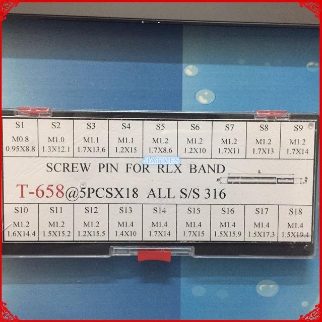 Wholesale- 90 나사 핀 링크에 대한 rlx 시계 밴드 / 팔찌 / 스트랩 모듬 크기는 시계 수리를 위해 설정