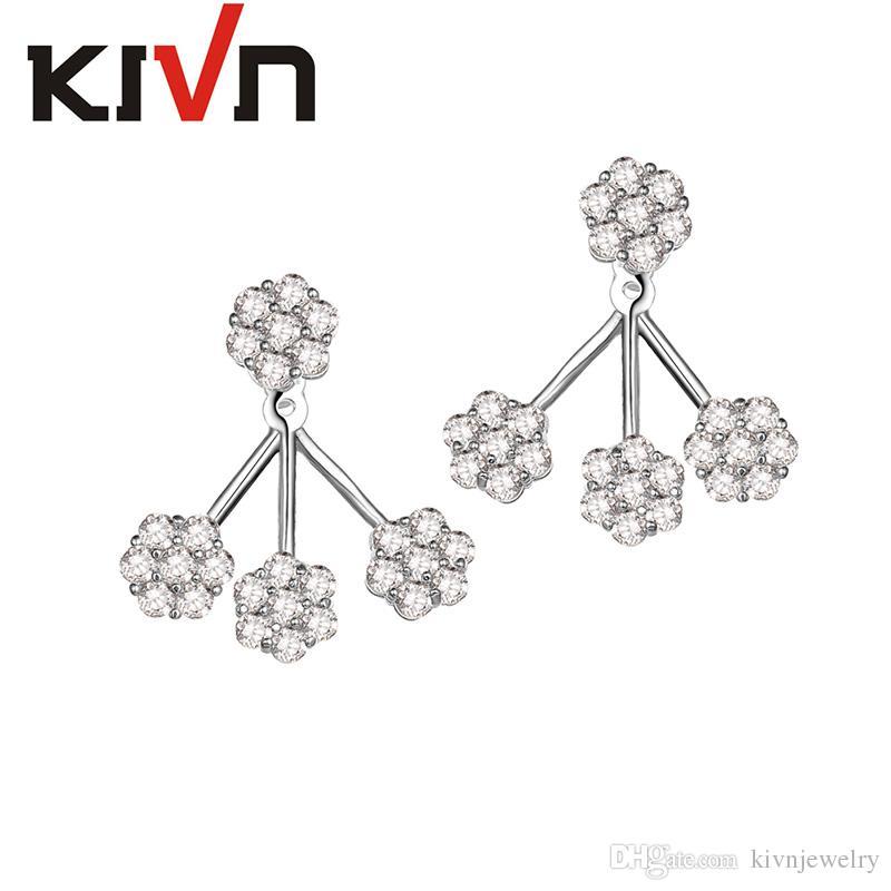 KIVN Fashion Jewelry White Flower Pave CZ Cubic zirconia Bridal Wedding Earring Ear Jackets for Women Birthday Christmas Gift
