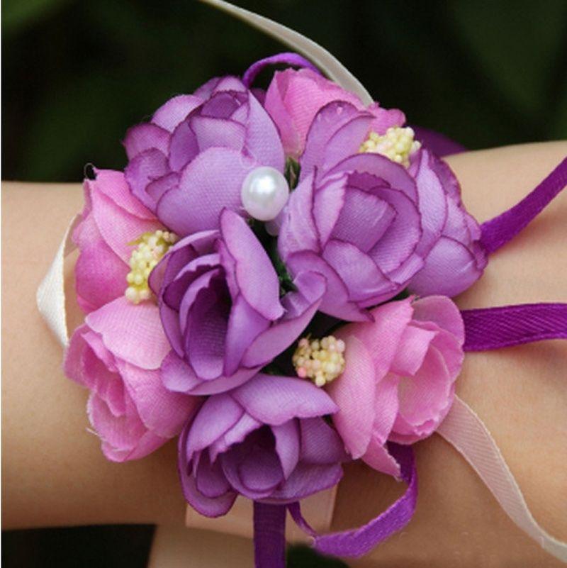 Atacado-NOVO Bonito Estilo Bonito Pulso Corsage Bracelet Bridesmaid Sisters Mão Flores Festa De Casamento Nupcial Prom