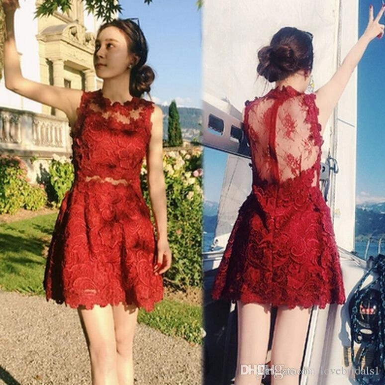 2017 cheap lace short cocktail dress jewel backless zipper simple fashion homecoming dress lace applique A-line prom dress for girl